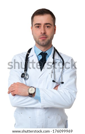 Smiling Male Doctor with stethoscope around his neck looking at camera on white background - stock photo