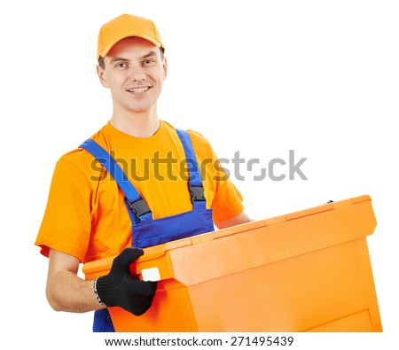 Smiling male postal delivery courier man in front of white bachground - stock photo