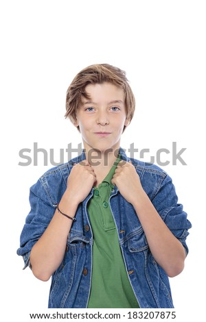 smiling male  teenager with hands on his jacked collar, isolated on white. - stock photo