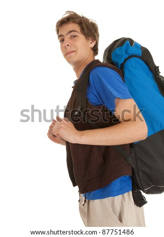 smiling male tourist with backpack, white background - stock photo