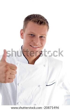 smiling male with thumbs up on an isolated white background - stock photo