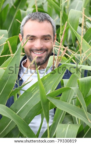 Smiling man in a corn field