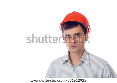 smiling man in a shirt in orange construction helmet; isolate background