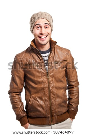 Smiling man in casual cloths isolated on white - stock photo