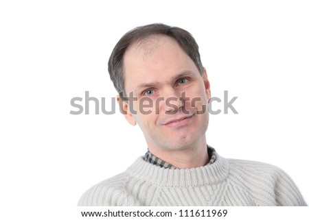 Smiling man in casuals against white background