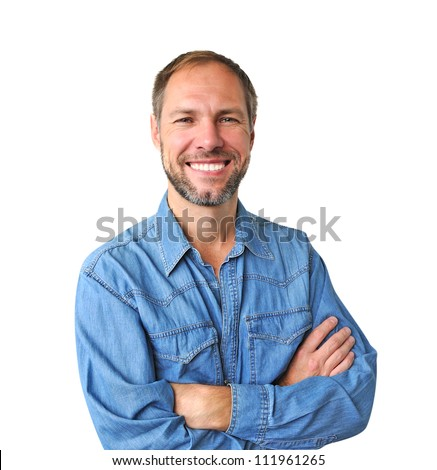 Smiling man in denim shirt isolated on the white background - stock photo