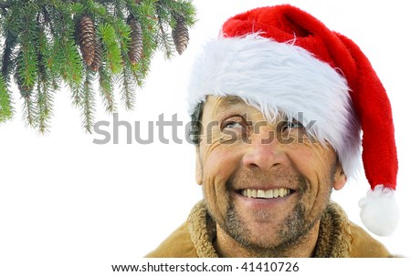 Smiling man in santa's hat looking to pine branch - stock photo