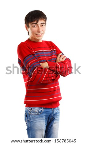 Smiling man in striped sweater on white background