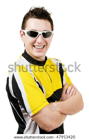 smiling man in t-shirt wearing sunglasses