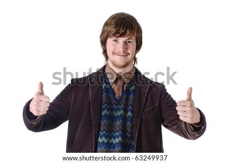 Smiling man on white isolated background - stock photo