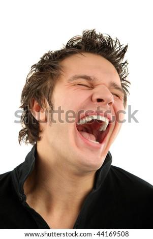 Smiling man portrait isolated background - stock photo