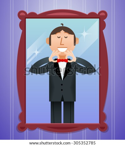 Smiling man straightens his tie in front of the mirror - stock photo