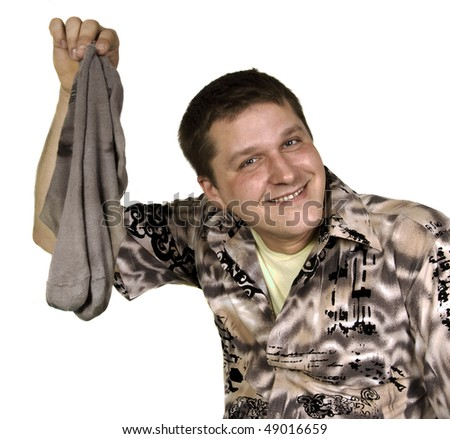 smiling man with dirty socks