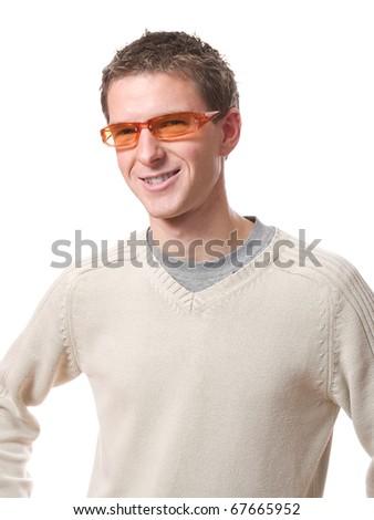 smiling man with orange glasses isolated over white background - stock photo