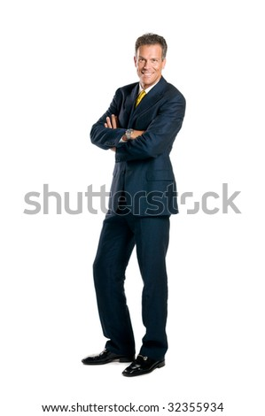 Smiling mature businessman standing full length isolated on white background - stock photo