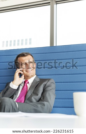Smiling mature businessman talking on cell phone in office - stock photo