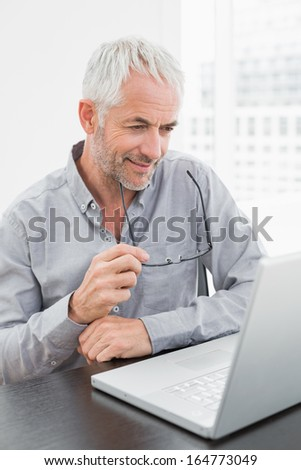 Smiling mature businessman using laptop at desk in a bright office