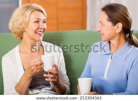 Smiling mature ladies with cups of tea at home sitting on the couch.Focus on the woman on the left - stock photo