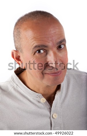 Smiling mature man isolated in white background