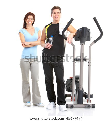Smiling mature strong man and woman. Isolated over white background - stock photo