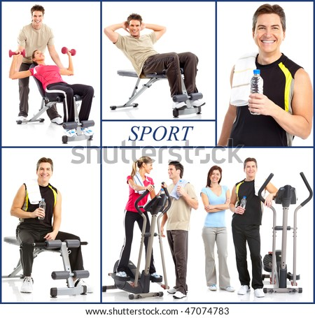Smiling mature strong man and women working out. Isolated over white background - stock photo