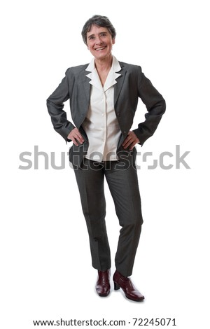 smiling mature woman isolated on white background - stock photo