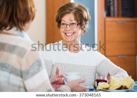 Smiling mature women sitting at table and chatting in living room - stock photo