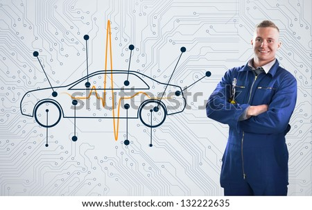 Smiling mechanic standing proudly in front of a diagram car on background - stock photo