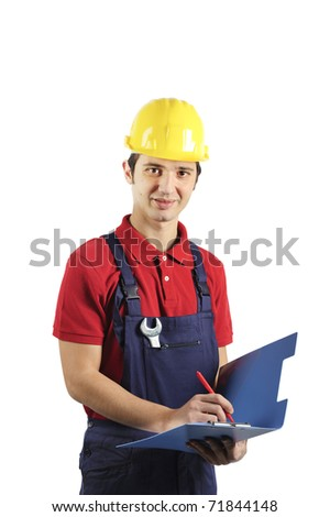 smiling mechanic writing notes - stock photo