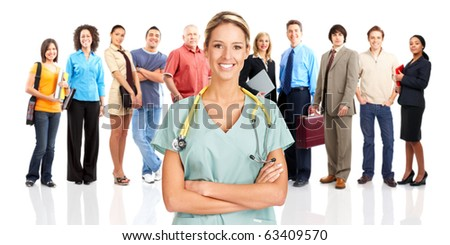 Smiling  medical doctor and people. Over white background - stock photo