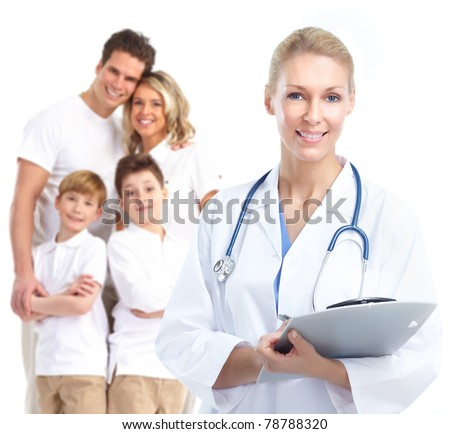 Smiling medical doctor. Isolated over white background - stock photo