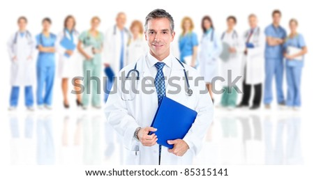 Smiling medical doctor. Isolated over white background.