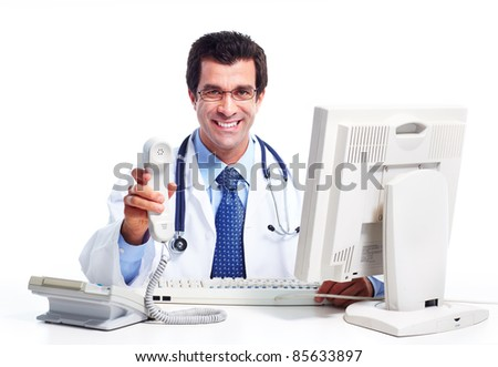 Smiling medical doctor. Isolated over white background. - stock photo