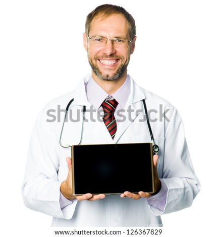 smiling medical doctor show a tablet pc. white background