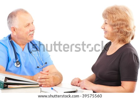 Smiling medical doctor with stethoscope and patient. Isolated over white background