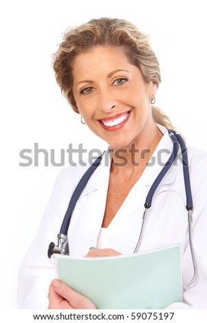 Smiling medical doctor with stethoscope. Isolated over white background - stock photo