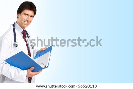 Smiling medical doctor with stethoscope. Over white background