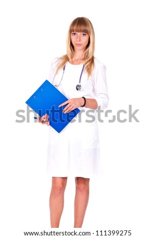 Smiling medical doctor woman with clipboard and stethoscope. Isolated over white background