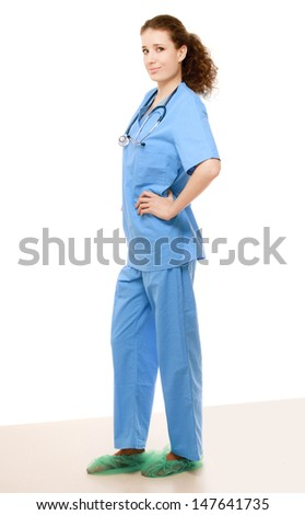 Smiling medical doctor woman with stethoscope - stock photo