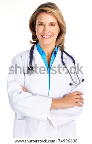 Smiling medical doctor woman with stethoscope. Isolated over white background - stock photo