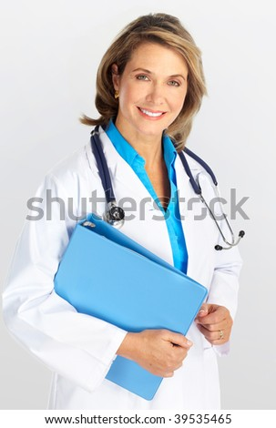 Smiling medical doctor woman with stethoscope. Over grey background