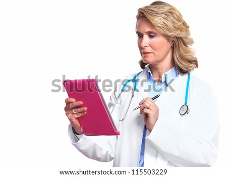 Smiling medical doctor woman with tablet computer. Isolated on white background. - stock photo