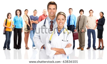 Smiling  medical doctors and people. Over white background - stock photo
