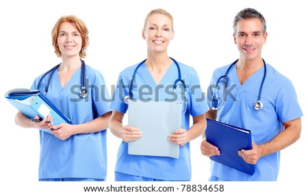 Smiling medical doctors. Isolated over white background - stock photo