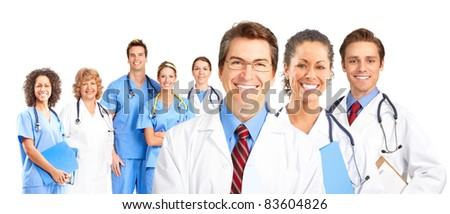 Smiling medical doctors team. Over white background.