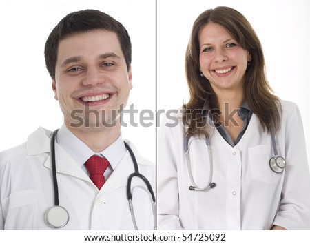 Smiling medical doctors with stethoscope, isolated over white background