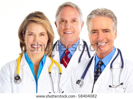 Smiling medical doctors with stethoscope. Isolated over white background - stock photo