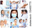 Smiling medical doctors with stethoscopes. - stock photo