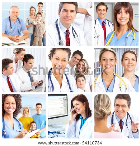 Smiling medical doctors with stethoscopes.
