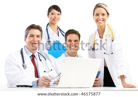 Smiling medical doctors with stethoscopes and computer. Isolated over white background - stock photo